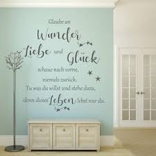 wandtattoo glaube an wunder wohnzimmer flur wand