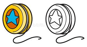 Colorful And Black And White Yo yo For Coloring Book Stock Vector