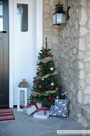 Pre Lit Entryway Christmas Trees by Porch Christmas Trees Home Design
