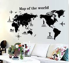 Modern World Map Wall Stickers Stencil Black Pvc Mural Decals Man
