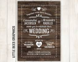 10 Rustic Wedding Invitations With RSVP Wood Invitation Any Color Free Customizations