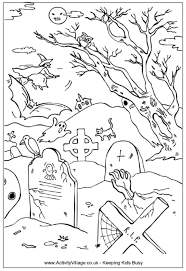 Halloween Graveyard Colouring Page