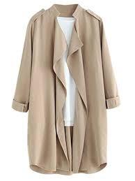 amazon com joeoy women u0027s elegant open front waterfall trench coat