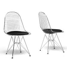100 Modern Metal Chair Avery MidCentury Wire With Black Cushion