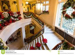 Stairs Christmas Decorations In Pittock Mansion Editorial