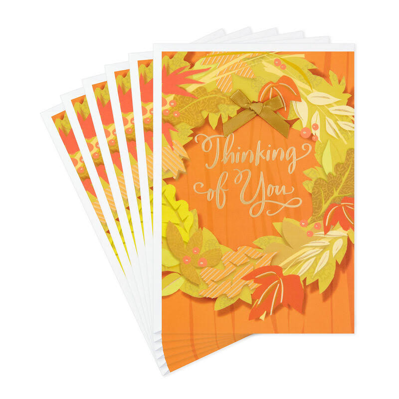 Fall Wreath Thinking of You Thanksgiving Card, Pack of 6