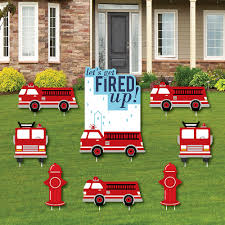 100 Fire Truck Birthday Party D Up Yard Sign And Outdoor Lawn Decorations Fighter Truck Baby Shower Or Yard Signs Set Of 8