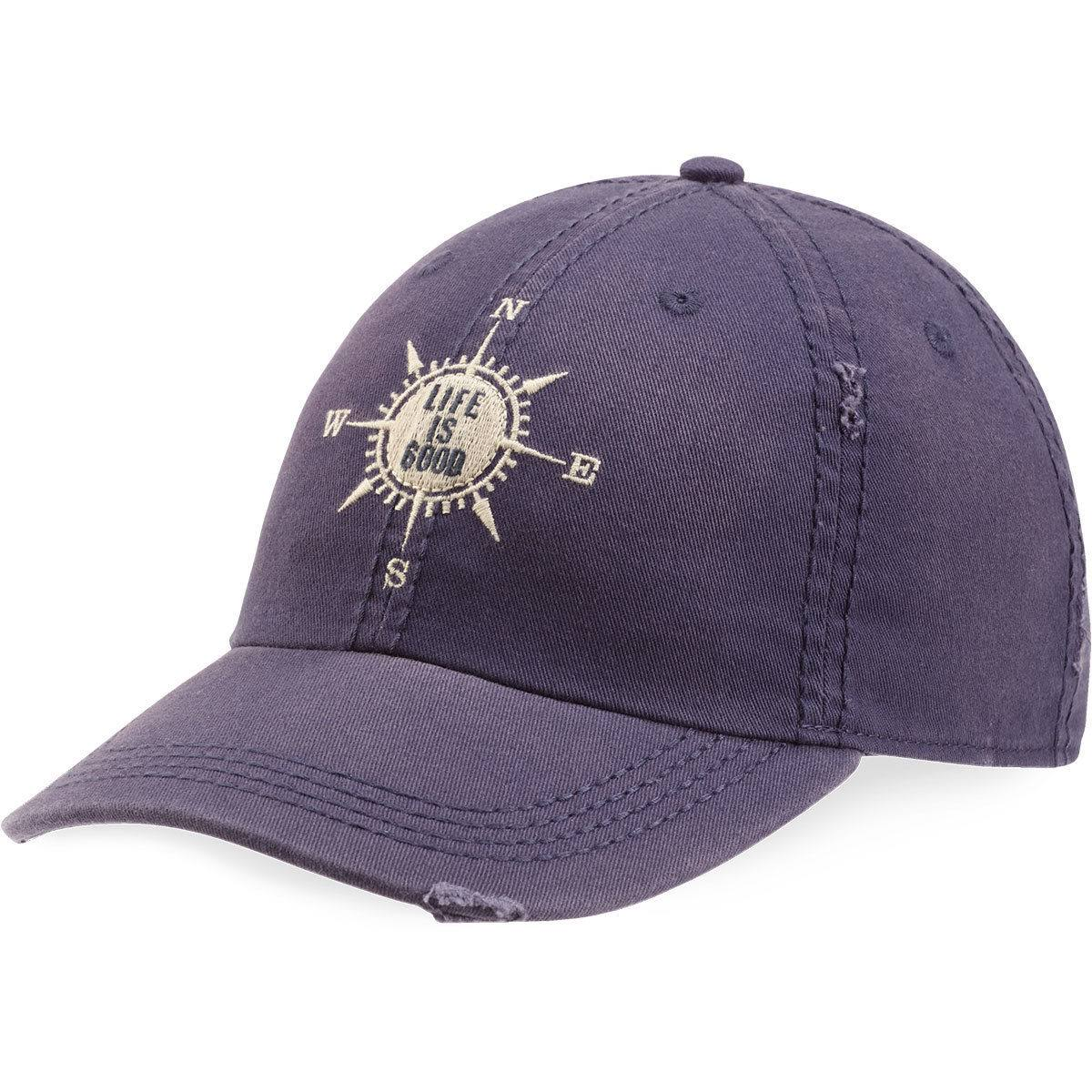 Life Is Good Sun Washed Chill Cap Lig Compass Hat - Darkest Blue