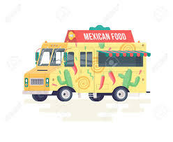 Vector Colorful Flat Mexican Food Truck. Food Truck. Isolated ...