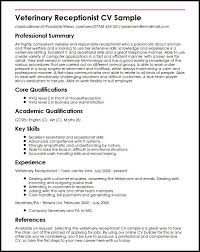 Front Desk Receptionist Curriculum Vitae by Veterinary Assistant Resume Examples