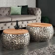 cagü 2er set couchtische ravenna silber aus mangoholz mit metallplättchen im mosaik design handgefertigt 65cm 55cm ø rund