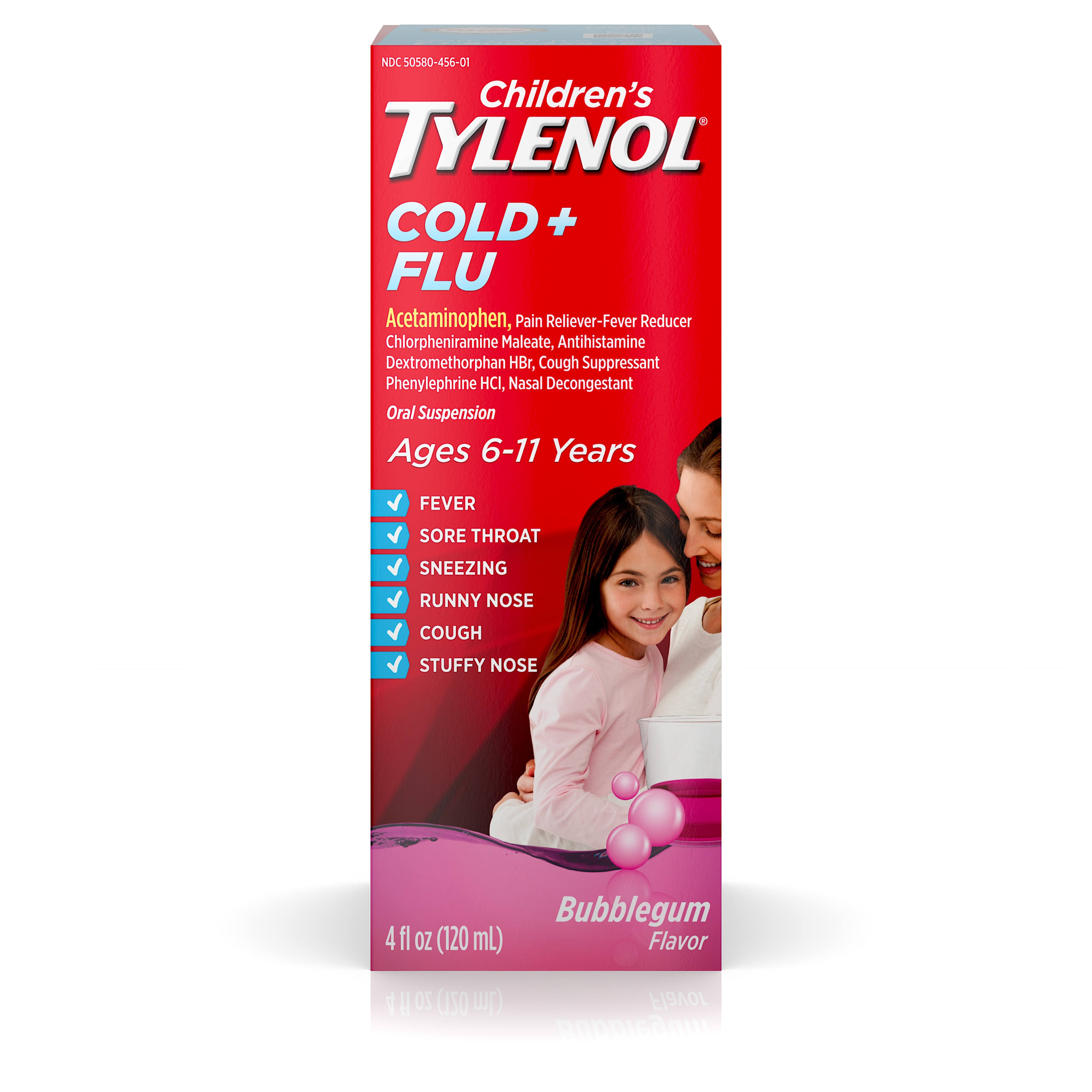 Tylenol Children's Cold and Flu Suspension - Bubblegum, 4oz