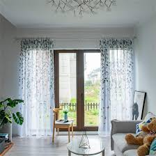 gwell baum vogel vorhang gardinen transparent dekoschal