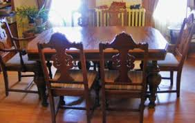 Solid Wood Dining Room Furniture Set Table 6 Chairs Circa 1930s