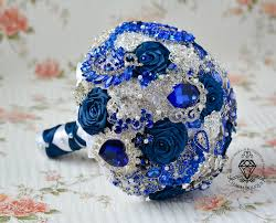 Royal Blue Bouquet Silver Navy Brooch
