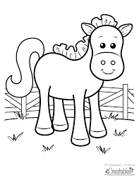 Cute Farm Horse Free Printable Coloring Page For Kids