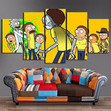 modular picture canvas posters for living room wall 5 pieces rick and morty paintings hd prints comic abstract pictures home decor wish