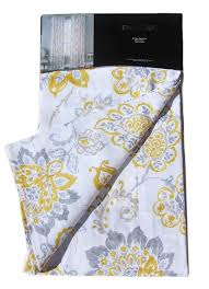Tommy Hilfiger Curtains Special Chevron by Envogue Yellow Gray Jacobean Floral Window Curtain Panels 50 By 96