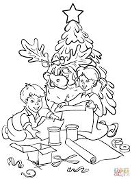 Chrildren Are Decorating Christmas Tree