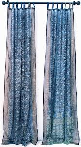 Target Threshold Grommet Curtains by Blue Turquoise Tie Dye Boho Window Treatment Indian Sari