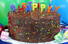 Download Chocolate Cake & Happy Birthday Candles Stock Image