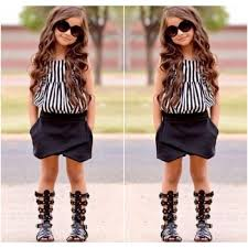 2017 Summer Fashion Kids Girl Outfits Baby Girls Stripe Vest Tops Black Short Pants Children Clothes Set New Arrival Striped