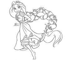 Princess Rapunzel Has Long Hair Coloring Pages