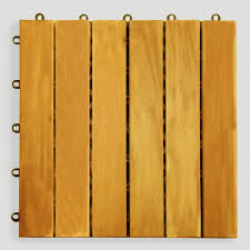 acacia wood 6 slat interlocking deck tiles 10 count world market
