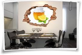 3d wanddurchbruch wandbild aufkleber marmelade orange zitrone küche glas deko