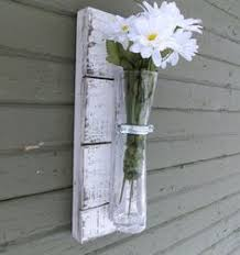 Rustic Wall Sconce Wood Vase White Flower Shabby Chic Reclaimed