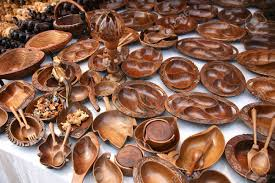 Various Of Wooden Dishes And Souvenirs In Flea Market Anjuna Goa India Stock