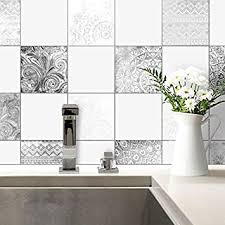 fliesenaufkleber bohemian fliesen sticker aufkleber selbstklebend kacheln bad küche wanddeko ornament schwarz weiß wall 15x15 cm 10 er set