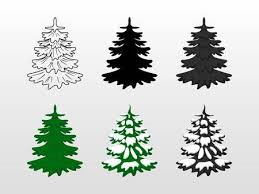 Set Icons Of Christmas Tree Green Black With Snow Contoured