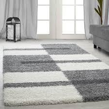 langflor hochflor wohnzimmer shaggy teppich florhöhe 3cm grau weiss hellgrau