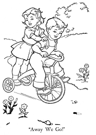 Adorable Retro Vintage Coloring Page For Adults Of Little Boy And Girl On A Trike