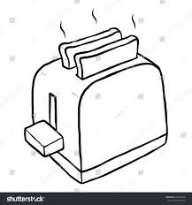 Toaster Cartoon Vector Illustration Black White Stock HD
