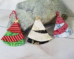 Folded Fabric Tree Ornament And Gift Topper
