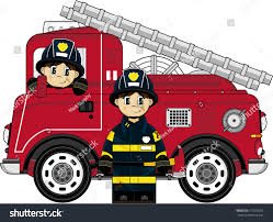 100 Fire Truck Cartoon Cute Man Engine Stock Vector Royalty Free