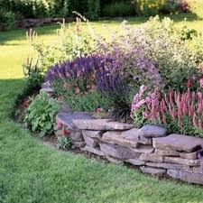 Rustic Flower Beds With Rocks In Front Of House Ideas 46