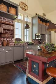 Brick Red Kitchen Cabinets With Best 25 Ideas On Pinterest And Walls Rustic White Blue 2