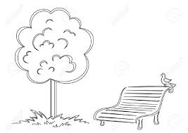 Park Bench With A Small Bird Costs Under A Tree Contours Royalty