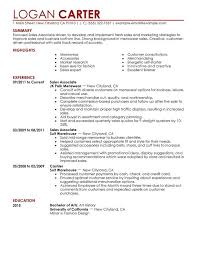 Sample Resume For Sales Associate Retail Writing Guide RG