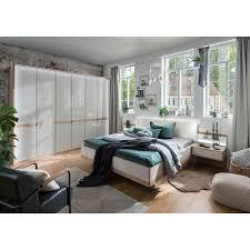 design schlafzimmer set in eichefarben beige glas beschichtet 4 teilig