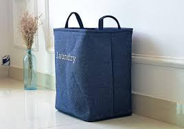 panier a linge bleu bleu tissu pliable panier à linge avec poignée jouets d entraver