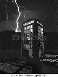 Phone Booth In Lighting Storm