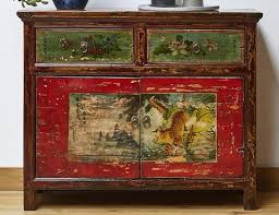 Vintage Chinese Painted Tiger Cabinet From Gansu