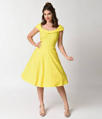 1960s Fashion What Did Women Wear Vintage Style Yellow Stretch Cap Sleeve Swing Dress
