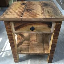 rustic reclaimed barnwood end table by crookedtreewoodcraft on