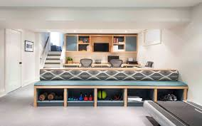 Built In Seating With Storage Home Gym Design Ideas Basement And Office Simple