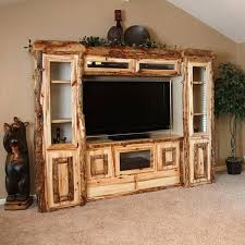 Hand Peeled Rustic Aspen Log Entertainment Center With Fireplace